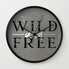 Wild and Free Silver Concrete Wall Clock