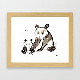 Mother and Baby Black Ink Panda Bears Illustration Framed Art Print