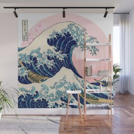 The Great Wave off Kanagawa by Hokusai in pink Wall Mural
