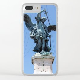 St Michael statue on top of Castel Sant'Angelo in Rome Clear iPhone Case