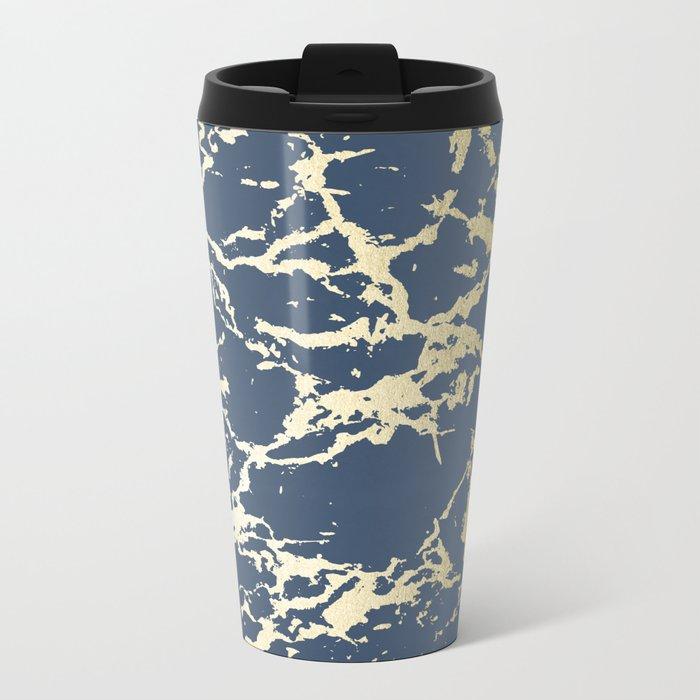 Kintsugi Ceramic Gold on Indigo Blue Metal Travel Mug