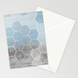 honeycomb winter forest // copper & blue Stationery Cards