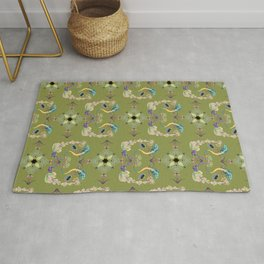 Tropical brocade Celtic knot work with succulent floral and lizards on a green background Rug