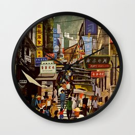 Vintage Hong Kong Travel Poster Wall Clock
