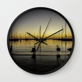 Geese & Sailboats at dawn Wall Clock