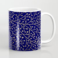navy Mugs featuring Gold Berry Branches on Navy by Cat Coquillette