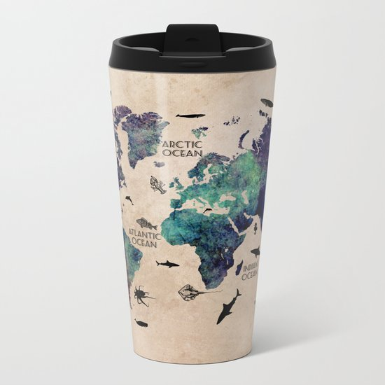 Oceans Life World Map #map #worldmap Metal Travel Mug