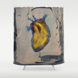 Heart of Gold encased in ice Shower Curtain