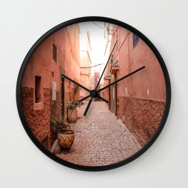Streets of the Marrakech Medina and Souks, Morocco Wall Clock