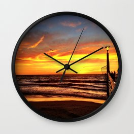"Hermosa Beach ""Fire in the Sky"" Wall Clock"