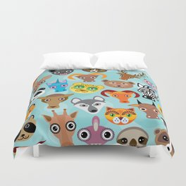 Seamless pattern cute face funny animals on blue background. Vector Duvet Cover