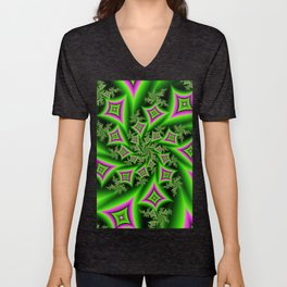 Green And Pink Shapes Fractal Unisex V-Neck