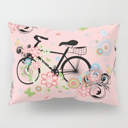 Bicycle and Colorful Floral Ornament Pillow Sham