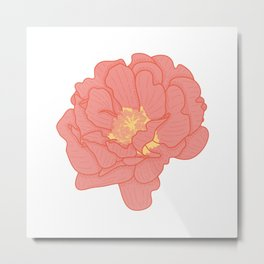 Red Portulaca Grandiflora Flower Illustration Metal Print