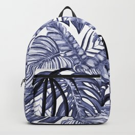 Purple Tropical Leafs Drawing Pattern Backpack