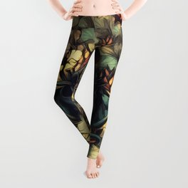 The skull, the flowers and the Snail Warm Leggings