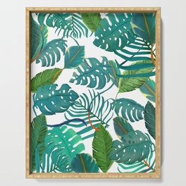 tropical diferent leaves Serving Tray