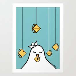 The Seagull and The Origami Fishes Art Print