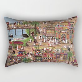 A drawing of the old city of Baghdad Rectangular Pillow