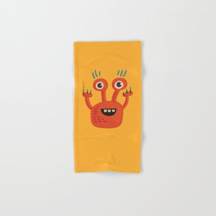 Funny Orange Happy Creature Hand & Bath Towel