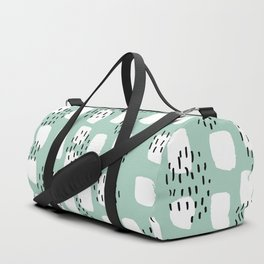 Spotted series abstract dashes and dots mint black and white raw paint texture Duffle Bag