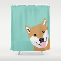doge Shower Curtains featuring Shiba Inu Peek - cute shiba doge peeking funny dog art print mint turquoise customizable dog gift by PetFriendly