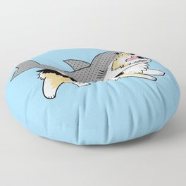 Another Corgi in a Shark Suit Floor Pillow