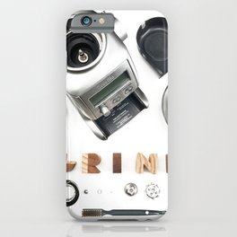 Grind // Exploded View Espresso Coffee Grinder Wood Block Typography Lettering Photograph iPhone Case