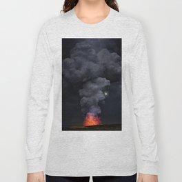 Moon Over Kilauea Volcano at Kalapana Long Sleeve T-shirt
