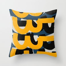 Yellow and blue Zen Abstract Pattern Design Throw Pillow