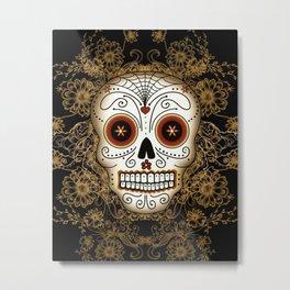 Vintage Sugar Skull Metal Print