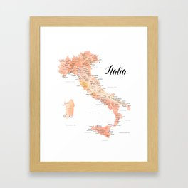 Rose gold Italy map in watercolor Framed Art Print