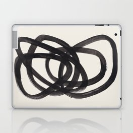 Mid Century Modern Minimalist Abstract Art Brush Strokes Black & White Ink Art Spiral Circles Laptop & iPad Skin
