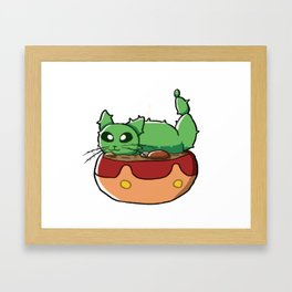 Cactus Cat Framed Art Print