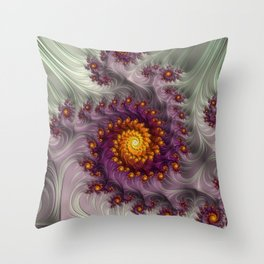 Saffron Frosting - Fractal Art Throw Pillow