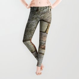 Stone Wall Fieldstones in Grey, Gold and Red Flagstone Leggings
