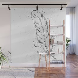 Feather Black and White Art Illustration Wall Mural