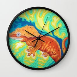 Red Crested Gecko Wall Clock