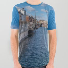 Nyhavn Canal under a blue sky with some clouds All Over Graphic Tee