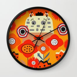 Baby giraffe and rabbits Wall Clock