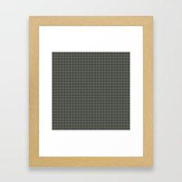 Desert Sage Grey Green and Black Houndstooth Check Framed Art Print