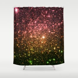 Rose Gold Green Galaxy Sparkle Shower Curtain