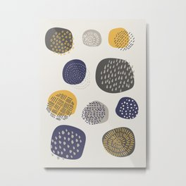 Abstract Circles in Mustard, Charcoal, and Navy Metal Print