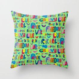 1960s Word Power Throw Pillow