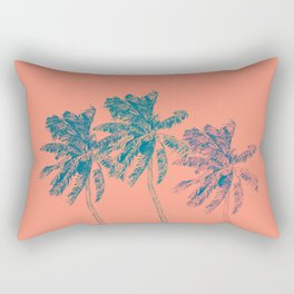 Neon Palm Trees in Coral Rectangular Pillow