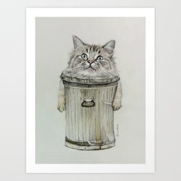 cat in bin Art Print