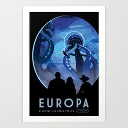 NASA Retro Space Travel Poster #4 - Europa Art Print