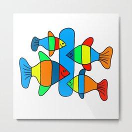 4 Fish - Black lines Metal Print