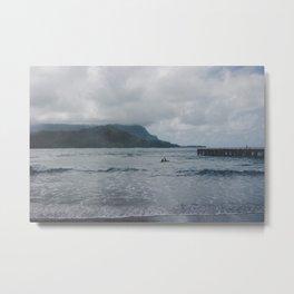 Two Surfers in a Sea - Kauai, Hawaii Metal Print