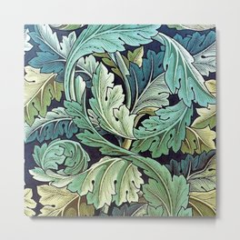 William Morris Herbaceous Italian Laurel Acanthus Textile Floral Leaf Print  Metal Print